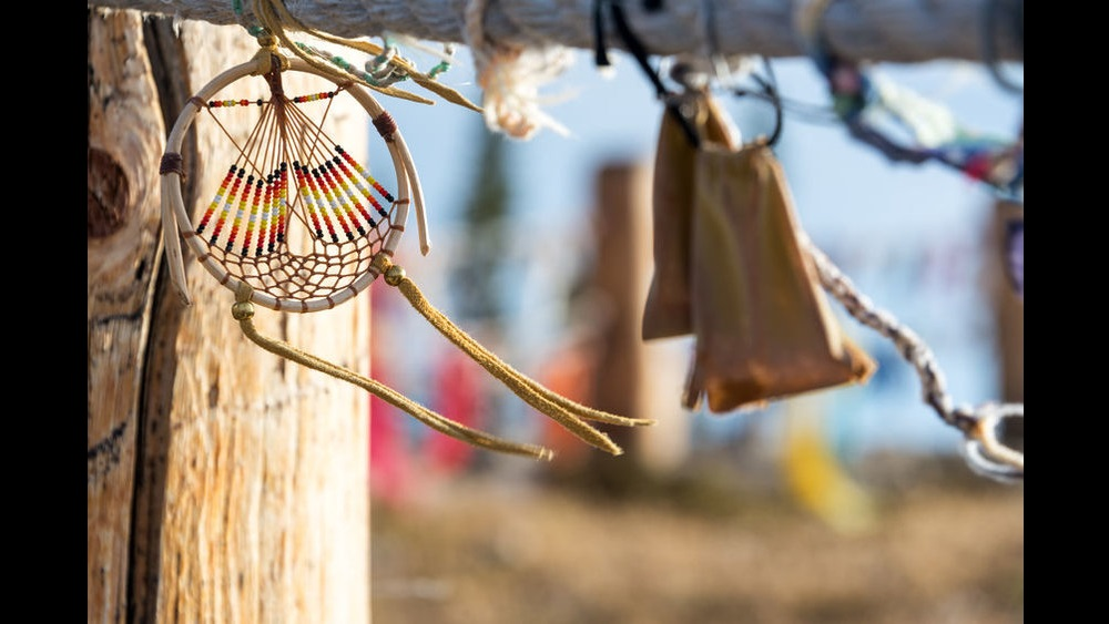 66400053 - dreamcatcher blowing in the wind at medicine wheel national historic landmark in wyoming