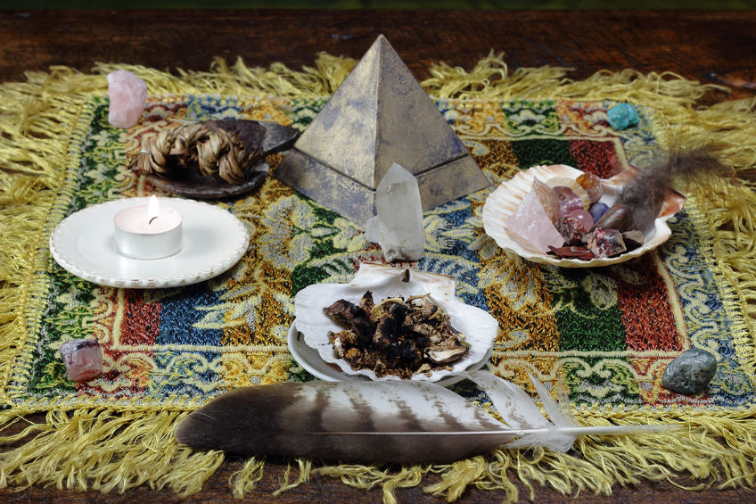 23928856 - mesa metaphysical altar and shamanic tools